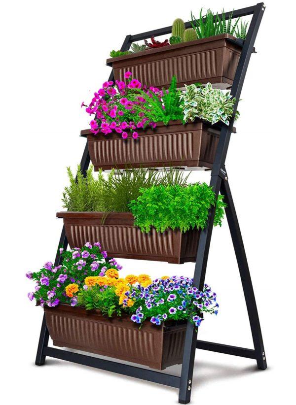4-bin vertical garden - brown